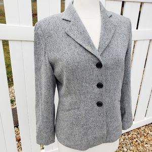 Talbots Solid Gray Blazer Jacket Size 10 Petite
